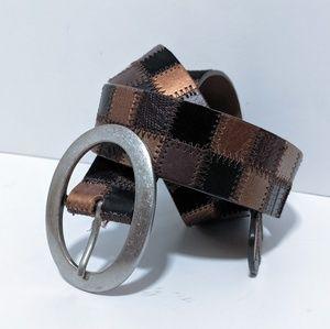 Fossil Leather Brown Belt Square Design